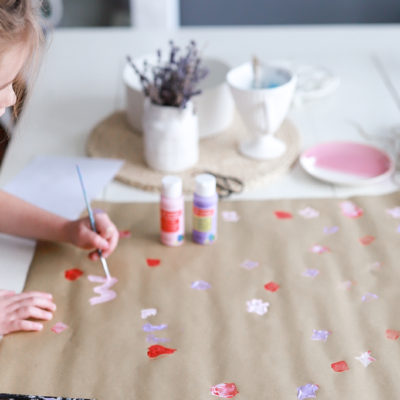 Kids DIY Potato Stamp Wrapping Paper